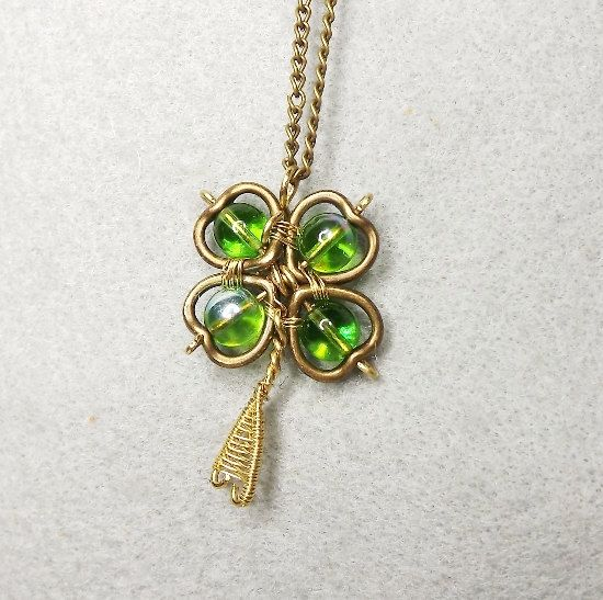 Four Leaf Clover Necklace SMALL St. Patrick's by Mammybluebeads