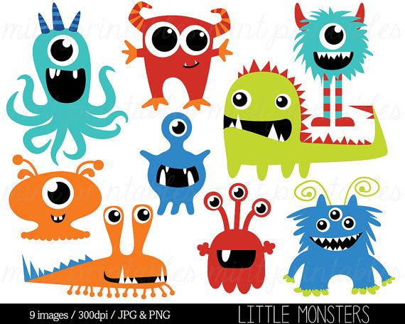 The Little Monsters Clip Art Set includes 9 PNG files with transparent backgrounds and 9 JPG files with white backgrounds. All the images are