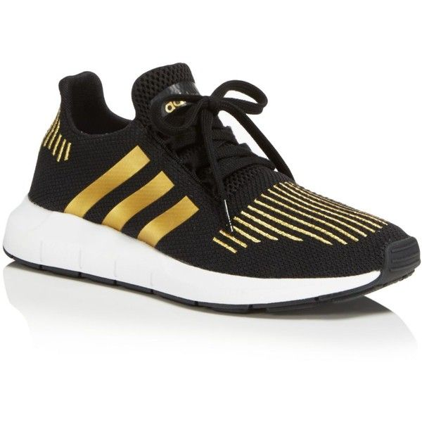 Adidas Women's Swift Run Sneakers ($85) ❤ liked on Polyvore featuring shoes, sneakers, gold, gold trainers, adidas sneakers, gold shoes, adidas and adidas footwear