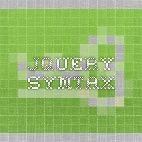 jquery syntax