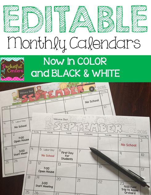 Kindergarten Calendar Flip Chart : Monthly editable calendars colors the o jays