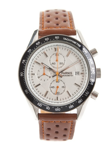 """Parnis Speedster Driver's chronograph  $100  I'm guessing this is an """"homage"""" (ie copy) of a real watch, but I don't know what one"""