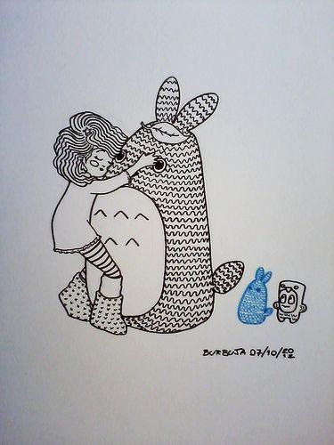Abrazo nocturno...Antes de dormir. Noche dibujada. Fibras en papel. Octubre 2012.