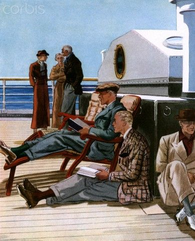 Reading on a cruise Illustration by United Advertising Agency, 1936