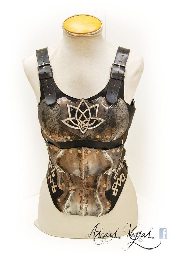 Steel and leather female chest armor. Available in 2 SIZES. LARP. Fantasy norse armor. Female warrior. Party Costume. Fantasy viking armor. THE