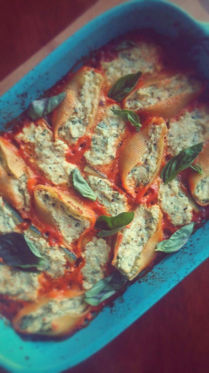 Ricotta and Pesto stuffed Jumbo Shells and Zucchini.   #vegetarian #vegetariancuisine #food #comingsoon #newrecipe