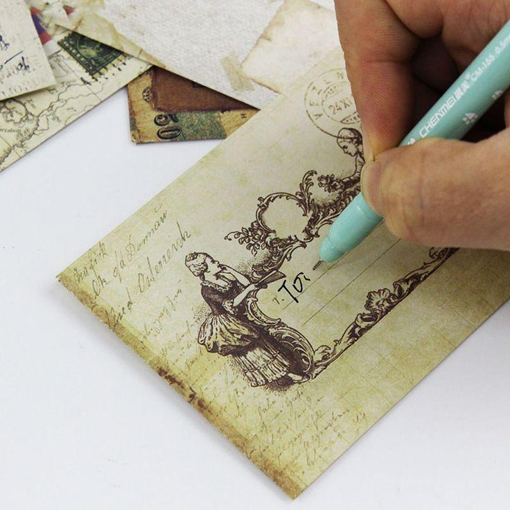 12 יחידות ציוד משרדי בציר אופנה מיני מעטפה גלויה מכתב נייח חפצים נייר דואר אוויר