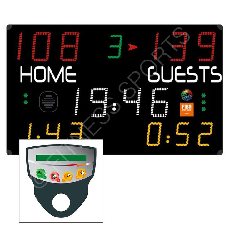 This scoreboard is suitable for basketball, handball, volleyball, tennis, table tennis, badminton, five-a-side football and hockey plus a free mode to customise your own sport programme. Complete with radio liaison control console. Reverts to standard clock time when not in use. Scoreboard face manufactured from shatterproof mat polycarbonate, wall mounted. High quality LED display (4 colours: red, green, yellow, white), using 240v mains supply, board comes complete with mains cable.