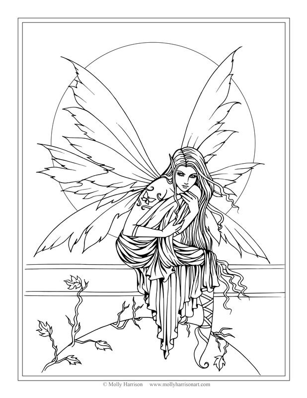 Free Fairy Coloring Page By Molly Harrison Fantasy Art
