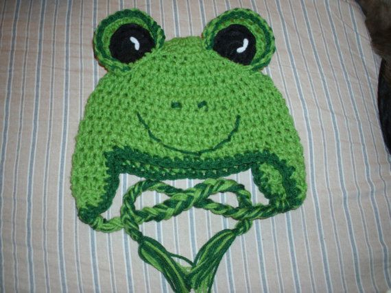 INFANT or KIDS funny FROG crocheted hat by kathleensweeney1, $10.00