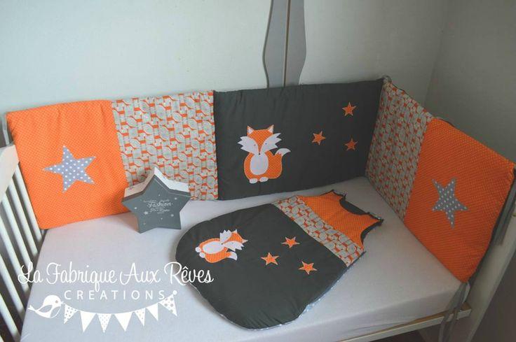 linge lit tour lit bébé gigoteuse turbulette renard étoiles orange gris - décoration chambre bébé renard étoiles forêt orange gris
