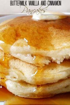 The softest, fluffiest, best buttermilk pancakes...from scratch! Savor the sweet hints of vanilla and warmth of the cinnamon; the perfect breakfast!!