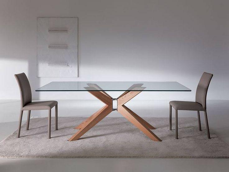 Tavolo da pranzo con piano in cristallo o legno e