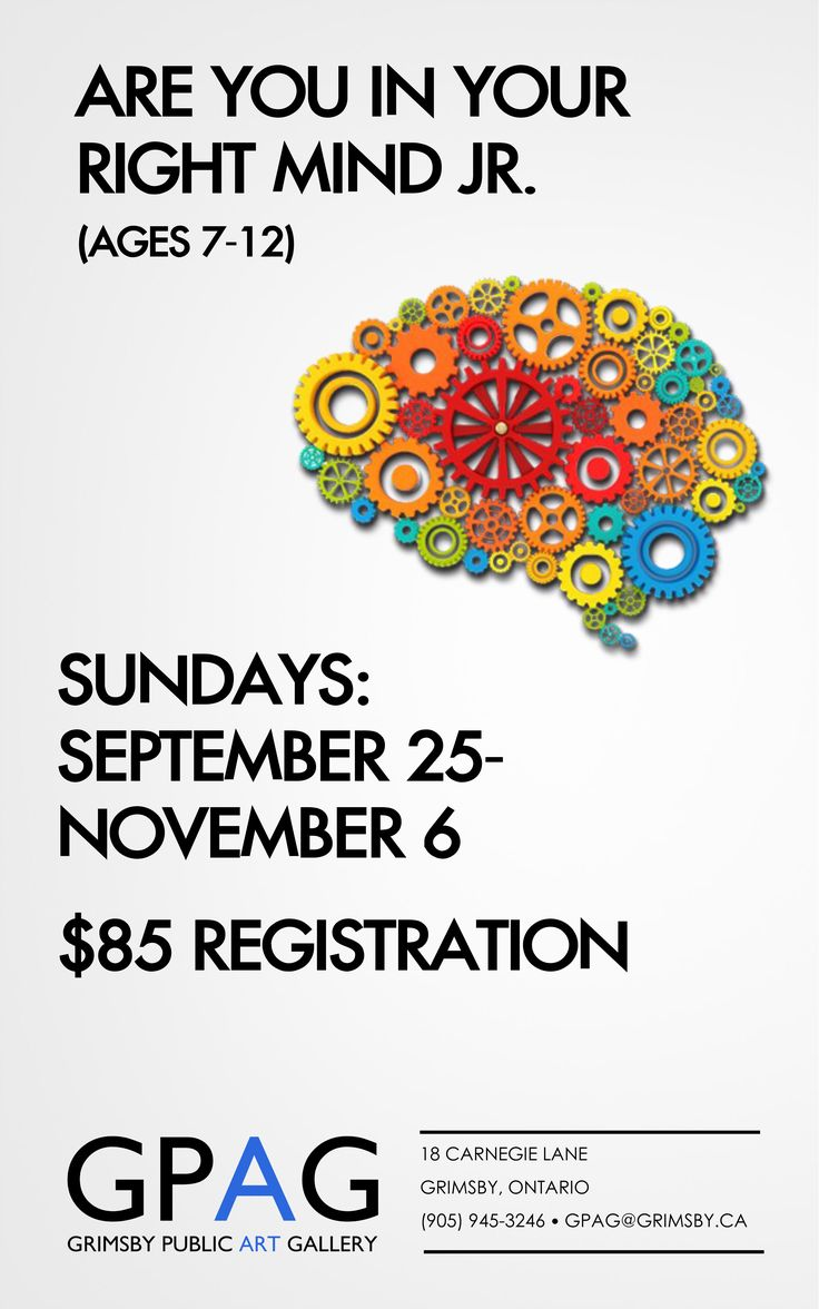 ARE YOU IN YOUR RIGHT MIND JR. (AGES 7-12) With Hether Klesh Sundays: September 25–November 6 (No Class October 2) 3pm-5pm 6 Sessions $85 Registration Members receive 10% off  Bronze winner Reader's Choice Awards for Best Local Artist 2016 Hether Klesh, will show you the reality of how the right and left sides of the brain work. This series of lessons for guides students through the experience of both sides of the brain through fun & interesting lessons on how to inhibit the left side (a