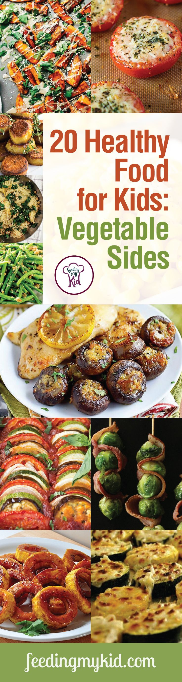 20 Healthy Food for Kids: Vegetable Sides - It can be hard to get your kids to eat vegetables. That's why we've put together this list of healthy and tasty vegetable side dishes that your kid just won't refuse. From baked zucchini with mozzarella to parmesan ranch corn; these recipes will surely please even the pickiest of eaters.