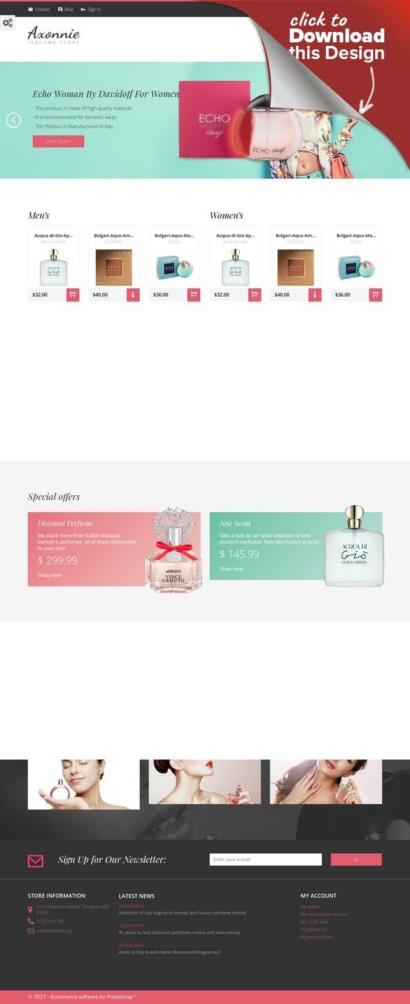 Axonnie - Perfume Store PrestaShop Theme E-commerce Templates, PrestaShop Themes, Fashion & Beauty, Beauty Templates, Cosmetics Store Templates