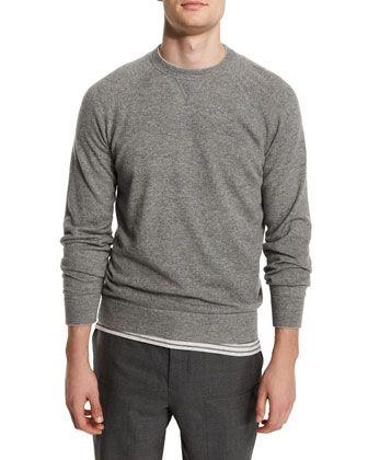 Solomeo Cashmere-Blend Crewneck Sweater, Medium Gray/Dove by Brunello Cucinelli at Neiman Marcus.