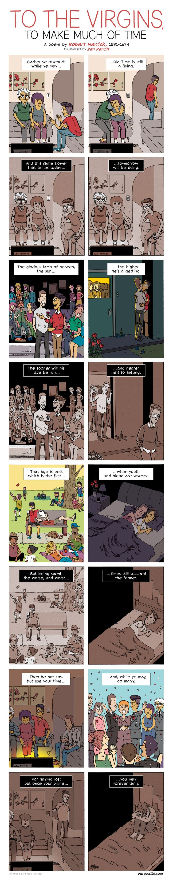 ZEN PENCILS » 187. ROBERT HERRICK: To the Virgins, to Make Much of Time// awwwweww