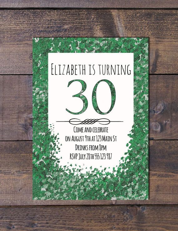 Glittery invite. Also comes in Pink, blue and yellow