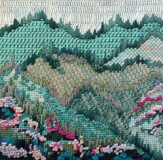 Needlepoint mountain landscape - Julie Mar needlepoint by Ginger Brennecke