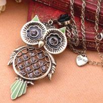 Ladies Owl Pendant Necklace with Lovely Rhinestone and Enamel
