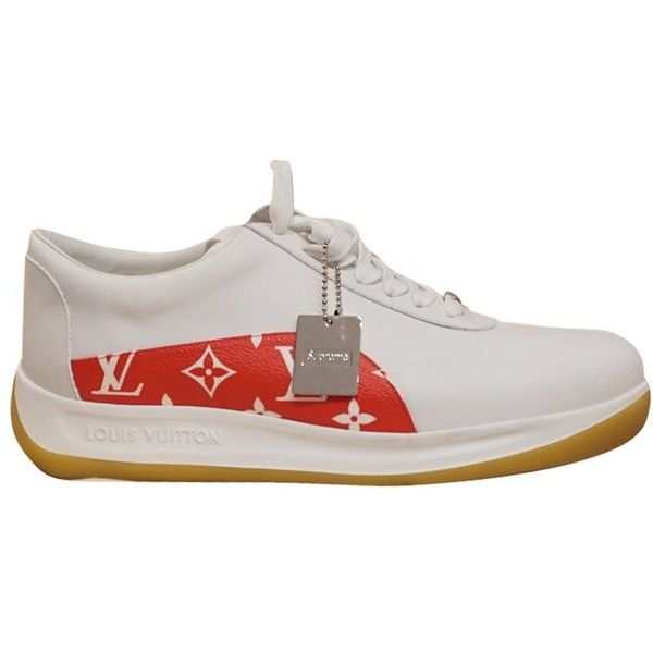Pre-owned Supreme Sneakers (24.058.405 IDR) ❤ liked on Polyvore featuring shoes, sneakers, white, white sneakers, louis vuitton sneakers, louis vuitton, pre owned shoes and white trainers
