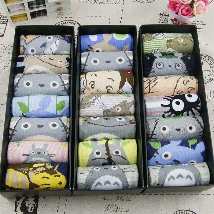 Japanese kawaii cartoon totoro socks gift box
