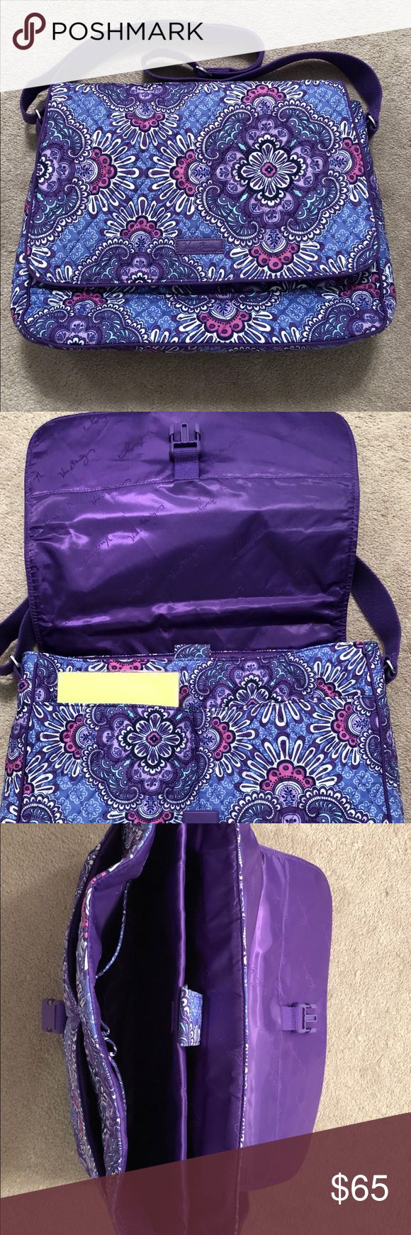 """Vera Bradley Laptop Messenger Lilac Tapestry - EUC Barely used (3x), 2017 crossbody Vera Bradley laptop messenger bag. Lightweight, water-repellant but super soft! Tons of pockets for organization, and storage. Held my 13.1"""" old school Mac with plenty of room to spare in the laptop sleeve. Also held my tablet, pens, notebook, index cards etc. Fold over flap closes with a click clasp for extra security! Strap is adjustable soft purple material. Loved this bag, just didn't work out for me…"""