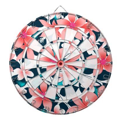 Red tropical hibiscus dartboard with darts - floral style flower flowers stylish diy personalize