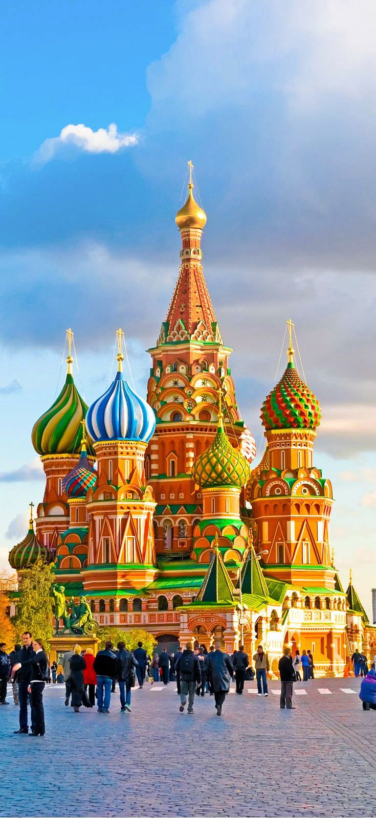 St. Basil's Cathedral in Moscow, Russia! Such an amazing place! Legend has it that Tsar Ivan IV blinded the architect after completion of this masterpiece, so the architect could never create something so beautiful again. Ouch, way to say thanks for the hard work. Click through to continue reading!