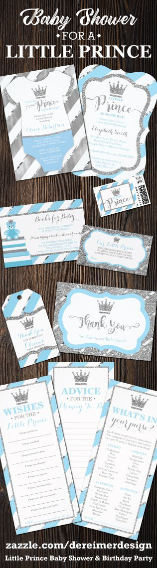 Little Prince Baby Shower Invitation in Baby Blue and Silver. Other colors available!