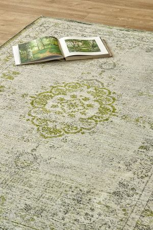 Weathered Antique Lime: 1.5 X 2.3 metres. Printed Polyester. Please note that, as these printed rugs are...