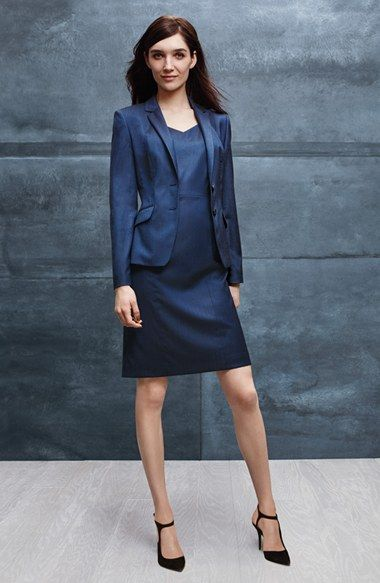 BOSS Stretch Wool Blend Suit Jacket & Sheath Dress available at #Nordstrom
