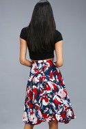 Cute Floral Print Skirt - Navy Blue Skirt - Print Midi Skirt