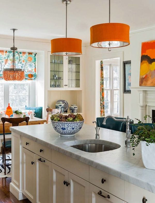 Katie Rosenfeld Design Kitchens Off White Island Kitchen Center Orange Pendants Light Penda