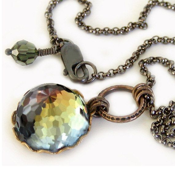 Rare Color Changing Vintage Swarovski Crystal Necklace by jQjewelrydesigns on Etsy, $41.00
