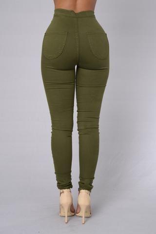 Super alta de la cintura del dril de algodón Skinnies - Olive