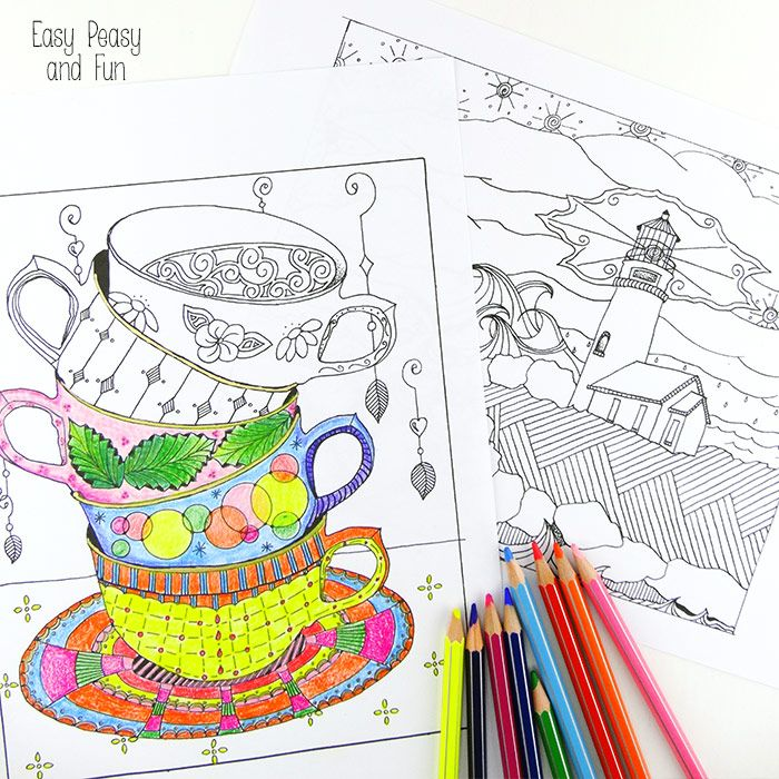 Lighthouse And Tea Cups Coloring Pages For Adults