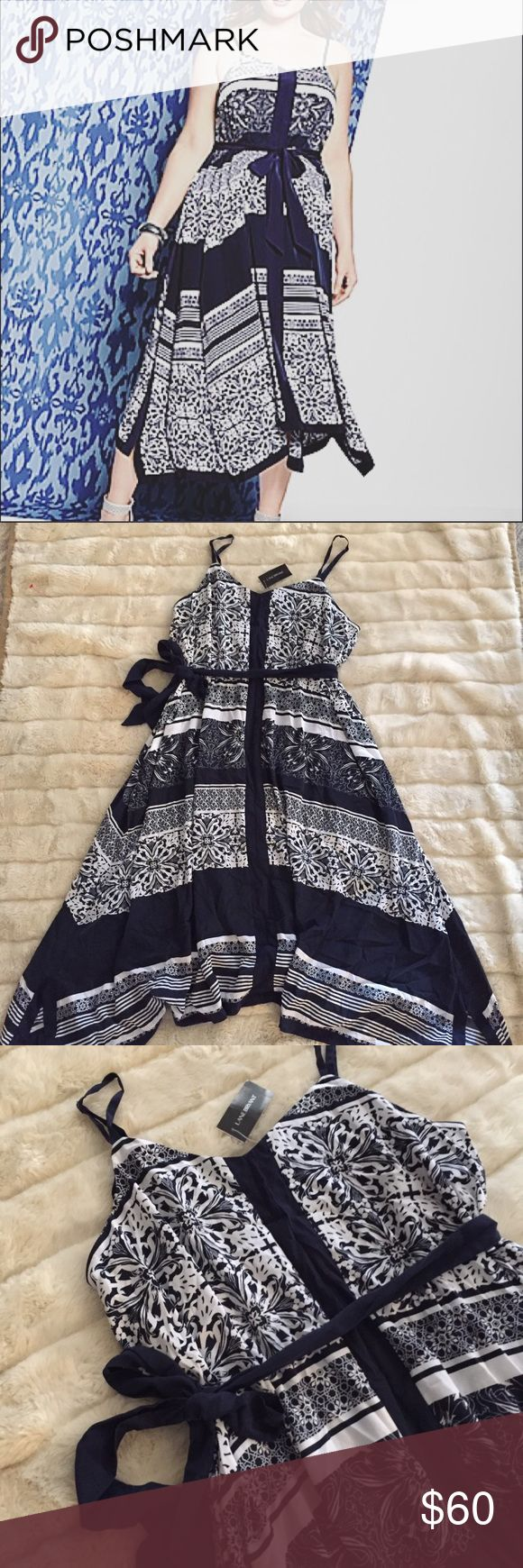 NWT Lane Bryant 14/16 Bandana Dress Maxi Midi Brand new with $89 tags! Navy and white tile/scarf/bandana print dress. Hi-low hemline, midi/maxi skirt. Very flattering print! Perfect spring and summer dress! Can be dressed up for warm weather events, or works great for a casual look!  Set for sunny days in cool blue hues, this silky dress does Boho-chic beautifully in a bandana print with a handkerchief hem. Pull-on style with a self-tie belt to define the fit, with adjustable straps…