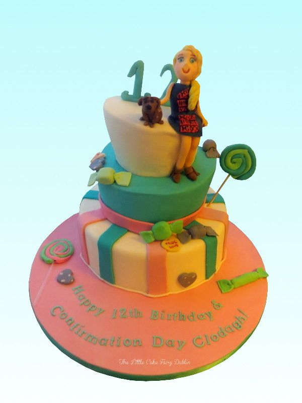 A sweets-themed Topsy Turvy joint 12th birthday and Confirmation Cake  www.littlecakefairydublin.com www.facebook.com/littlecakefairydublin