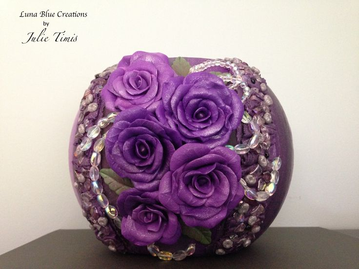 Purple Roses, Polymer Clay Covered Vase, Polymer Clay Vase, Purple Vase, Purple Bowl, Polymer Clay Bowl, Wedding Vase, Polymer Clay Art by LunaBlueGifts on Etsy https://www.etsy.com/listing/471085543/purple-roses-polymer-clay-covered-vase