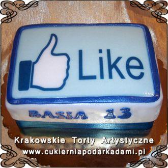 """096. Tort na 13ste urodziny z kciukiem Facebooka - ,,Lubię to"""". Facebook ,,Like"""" cake."""