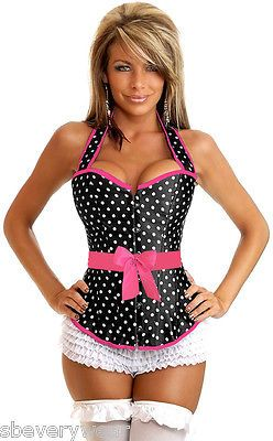 Womens-Sexy-Rockabilly-Polka-Dot-Pin-UP-Corset-Lace-Up-Back-Piping-Bow-Small-6X