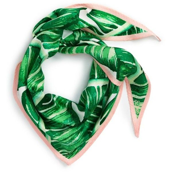 Women's Echo Palm Silk Scarf (520.065 IDR) ❤ liked on Polyvore featuring accessories, scarves, leaf green, pure silk scarves, silk shawl, green shawl, green silk scarves and green scarves