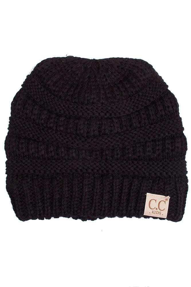 9d391eeffa3 C.C. Beanie Cable Knit Beanie for Kids in Black YJ847-KIDS-BLACK ...