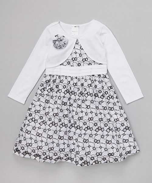 Take a look at the Joe-Ella White Floral Eyelet Dress & Bolero - Infant, Toddler & Girls on #zulily today!