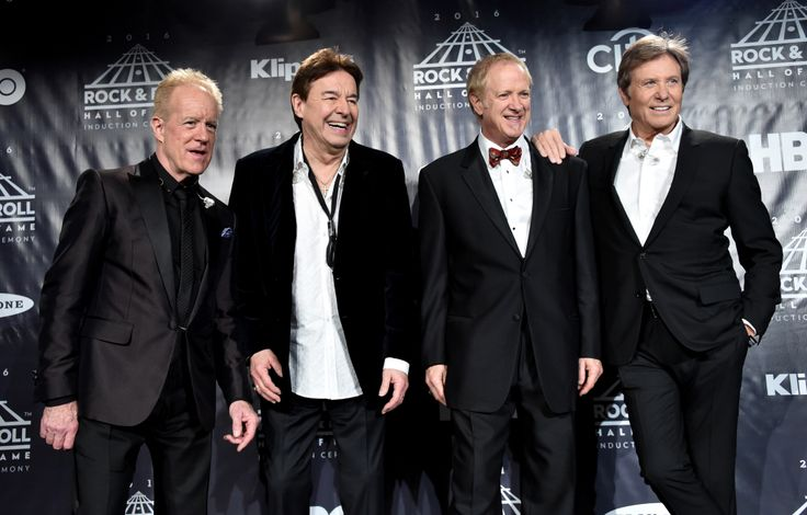 (L-R) Inductees James Pankow, Walter Parazaider, Lee Loughnane and Robert Lamm of Chicago pose in the press room at the 31st Annual Rock And Roll Hall Of Fame Induction Ceremony at Barclays Center of Brooklyn on April 8, 2016 in New York City. (Photo by Mike Coppola/Getty Images)