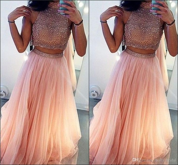 Sexy High Neck Two Pieces Dresses 2016 Dresses Evening Wear Fully Crystals Beaded Beading Tulle Pleats A Line Prom Gowns White Formal Dresses Cheap Prom Dresses Under 50 From Molly_bridal, $111.27| Dhgate.Com