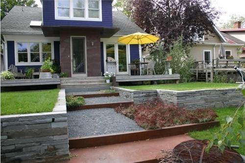 32 best sloped back yard ideas images on pinterest for Terraced yard ideas