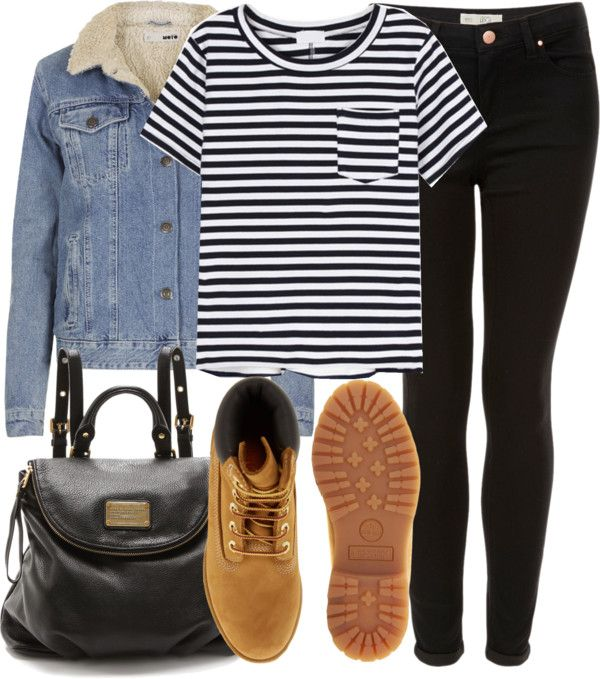 Untitled #1112 by alyucma featuring timberland boots and striped shirts.